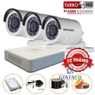 Trọn bộ 03 Camera Trụ HIKVISION Turbo HD 720P